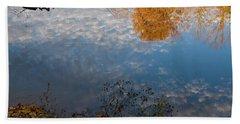 Fall Reflection In Blue Bath Towel