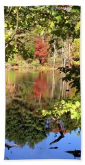 Fall Reflections Hand Towel by Nancy Landry