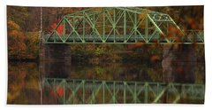 Fall Rocks Village Bridge Bath Towel