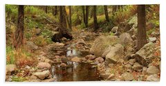 Fall Stream And Rocks Bath Towel by Roena King
