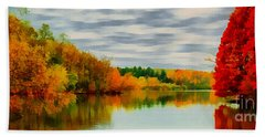 Fall Water Painterly Rendering Hand Towel by Michael Flood