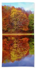 Bath Towel featuring the painting Fall Waters by Harry Warrick