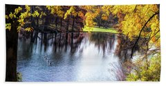 Fall Yellow Boarder Hand Towel