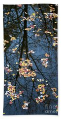 Fallen Leaves In Autumn Lake Hand Towel