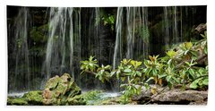 Falling Falls In The Garden Hand Towel by Iris Greenwell