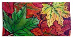 Falling Leaves I Painting Bath Towel by Kimberlee Baxter