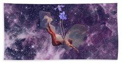 Falling Purple Galaxy Bath Towel