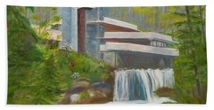 Bath Towel featuring the painting Falling Water by Jamie Frier