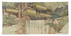 Fallingwater Pen And Ink Bath Towel