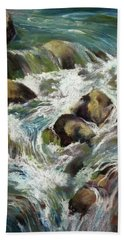 Bath Towel featuring the painting Falls by Rae Andrews