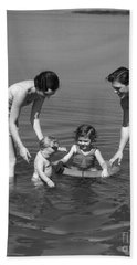 Family At The Beach, C.1930s Hand Towel