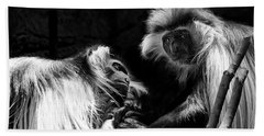 Bath Towel featuring the photograph Family - Black And White Colobus Monkeys by Jason Politte