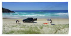 Family Day On Beach With 4wd Car  Hand Towel