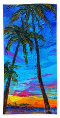 Family Tree - Modern Impressionistic Landscape Palette Knife Oil Painting Bath Towel