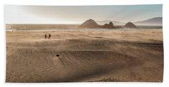 Family Walking On Sand Towards Ocean Hand Towel