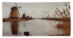 Famous Windmills At Kinderdijk, Netherlands Bath Towel