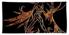 Bath Towel featuring the drawing Fancy Flight On Fire by Jamie Lynn