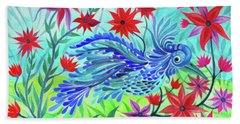 Fancy Fowl In The Flowers Bath Towel
