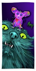 Bath Towel featuring the painting Fang And Meep  by DC Langer