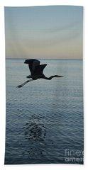 Fantastic Flying Great Blue Heron Bath Towel by DejaVu Designs