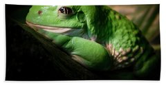 Hand Towel featuring the photograph Fantastic Green Frog by Jean Noren