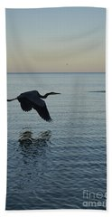 Fantastic Heron In Flight Over The Ocean Hand Towel