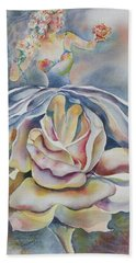 Hand Towel featuring the painting Fantasy Rose by Mary Haley-Rocks