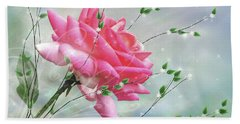 Bath Towel featuring the digital art Fantasy Rose by Nina Bradica