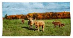 Farm Field And Brown Cows Bath Towel