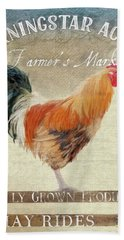 Hand Towel featuring the painting Farm Fresh Barnyard Rooster Morning Sunflower Rustic by Audrey Jeanne Roberts
