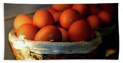 Farm Fresh Brown Eggs Bath Towel by Lesa Fine