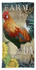 Hand Towel featuring the painting Farm Fresh Daily Red Rooster Sunflower Farmhouse Chic by Audrey Jeanne Roberts