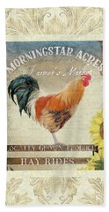 Hand Towel featuring the painting Farm Fresh Damask Barnyard Rooster Sunflower Square by Audrey Jeanne Roberts
