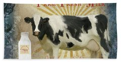 Hand Towel featuring the painting Farm Fresh Milk Vintage Style Typography Country Chic by Audrey Jeanne Roberts