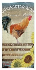 Hand Towel featuring the painting Farm Fresh Morning Rooster Sunflowers Farmhouse Country Chic by Audrey Jeanne Roberts