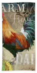 Hand Towel featuring the painting Farm Fresh Red Rooster Sunflower Rustic Country by Audrey Jeanne Roberts
