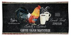 Hand Towel featuring the painting Farm Fresh Rooster 6 - Coffee Bean Roasterie French Roast by Audrey Jeanne Roberts