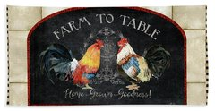 Bath Towel featuring the painting Farm Fresh Roosters 2 - Farm To Table Chalkboard by Audrey Jeanne Roberts