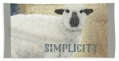 Bath Towel featuring the painting Farm Fresh Sheep Lamb Simplicity Square by Audrey Jeanne Roberts