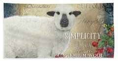Hand Towel featuring the painting Farm Fresh Sheep Lamb Wool Farmhouse Chic  by Audrey Jeanne Roberts