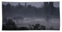 Farm In Fog Bath Towel