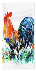 Hand Towel featuring the painting Farm Rooster by Zaira Dzhaubaeva