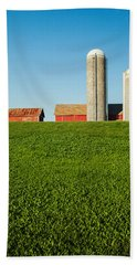 Farm Silos And Shed On Green And Against Blue Hand Towel