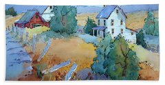 Farm With Blue Roof Tops Hand Towel