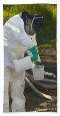 Farm Worker Mixing Chemicals Hand Towel