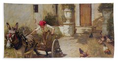 Farm Yard Scene Bath Towel