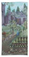 Hand Towel featuring the painting Farmstead by Virginia Coyle