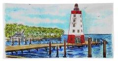 Bath Towel featuring the painting Faro Blanco Lighthouse Florida Keys by Irina Sztukowski