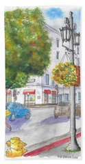 Farola With Flowers In Wilshire Blvd., Beverly Hills, California Hand Towel