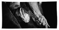 Farrier At Work On Horses Hoof Bath Towel